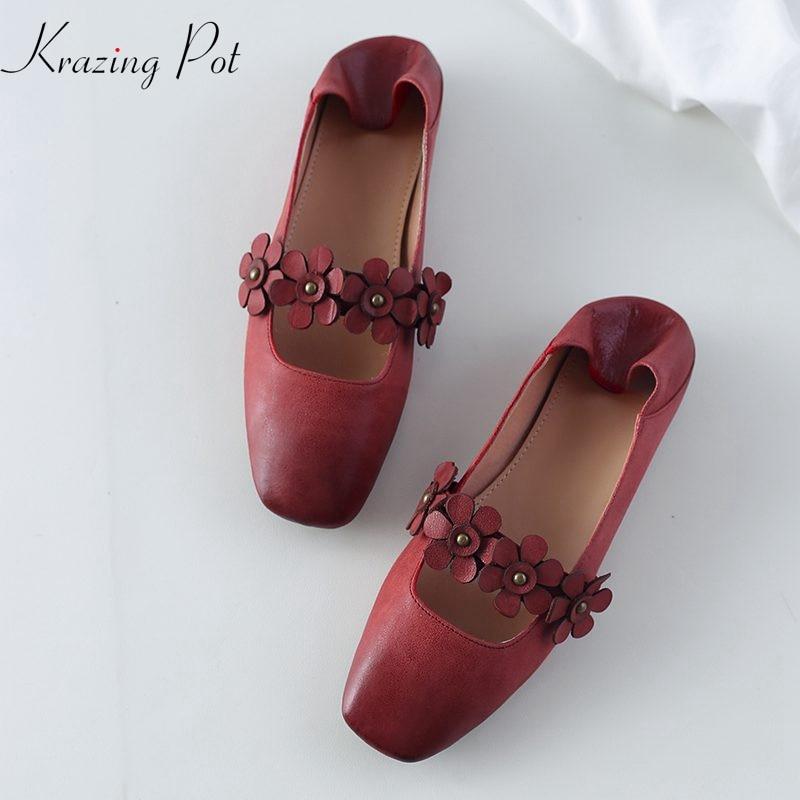 Krazing pot women brand appliques flowers decoration flats square toe genuine leather elegant shallow slip on women shoes L16