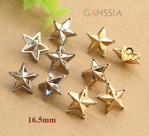 10pcs Lot Gold Amp Silver Color Metal Star Buttons For Craft