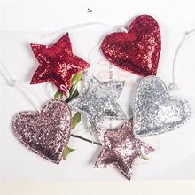 2019 New 3Pcs/set Christmas Decorations Fabric Sequins Pentagram Love Pendant Tree Ornament Xmas Decoration