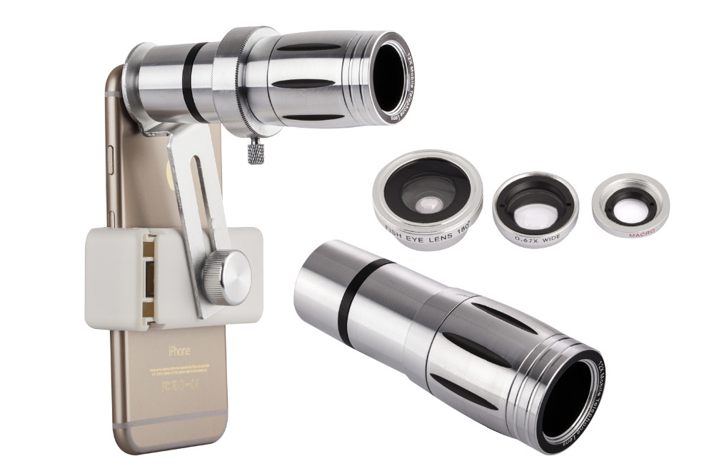 Universal 12X Zoom Mobile Phone Telescope Lens 4in1 lens Telephoto External Smartphone Camera Lens for iPhone Sumsung HTC Huawei 18