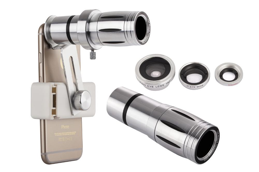 Universal 12x zoom mobile phone telescope lens 4in1 lens telephoto