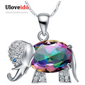 Collier Rainbow Color Elephant Shaped Pendant Necklace 925 Sterling Silver Chain Necklaces Cute Gifts For Girls Uloveido N1154