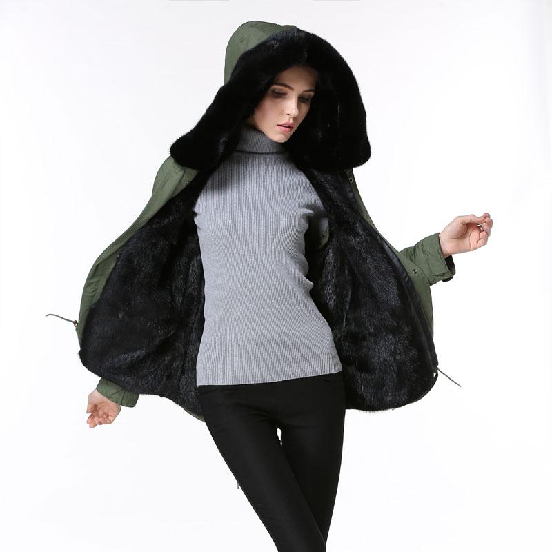2018 army green winter fur coat, short black fashion warm women&mens fur jacket, factory direct selling