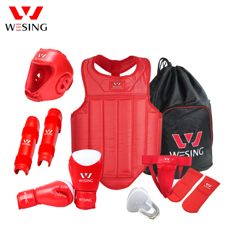 Wesing Martial Arts Equipment 8 Pcs Set Wushu Sanda Protector Gear Sanda Competition Training Free Shipping influence of age at castration
