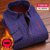 Dudalina 2017 Slim Fit Men Winter Long Sleeve Dress Shirt Warm Casual Vintage Lattice Stripes Mens