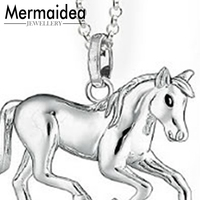 Silver Link Chain Horse Steed Pendant Chokers Necklaces Pendants Fashion Punk Horse Pendant Necklace Jewelry Women Men
