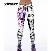 064 Taille Haute Entraînement Silm Fitness Femmes Leggings Élastique Pantalon Pantalon Pour Sexy Fille De Mode Sang Blanc Tigre Lettre Affiches