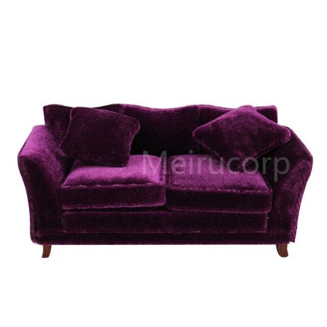 Dollhouses 1 12 Scale Miniature Furniture Drawing Room Purple Fabric Sofa