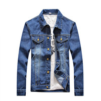 2017 Autumn New Style Men S Casual Cowboy Jacket Solid High Quality Male Jeans Coat Plus