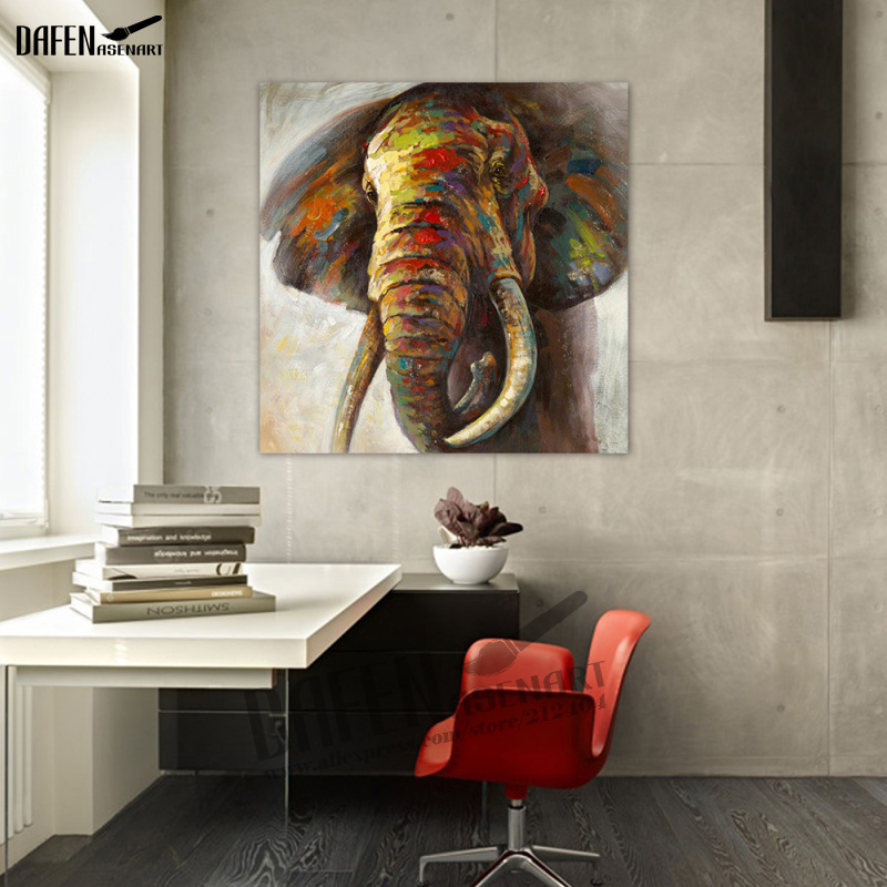 100% Hand painted Elephant Oil Painting on Cotton Canvas Unframed Animal Large Wall Art picture for Living Room Home Decor african elephant