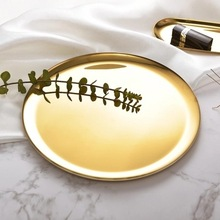 Nordic Style Golden Storage Tray Metal Round Rainbow Color Fruit Tea Copper Ornaments