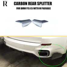 F15 X5 Carbon Fiber Rear Bumper Side Splitter Apron for BMW F15 X5 M-tech M-sport Bumper Only 2014 UP цена и фото