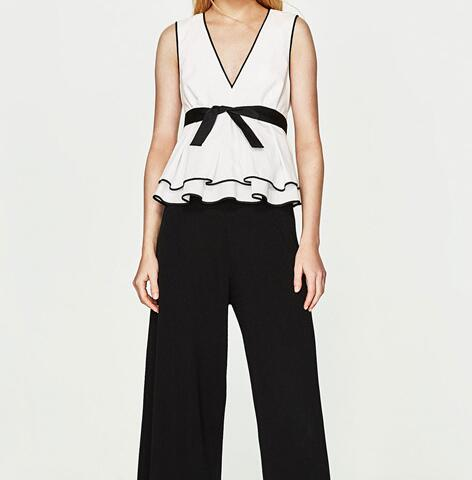 c21c918b WISHBOP NEW WOMAN WHITE Sleeveless TOP WITH CONTRASTING BLACK TRIMS V-neck  zip-up Back With BOW Ruffles HEM TOPS Blouse