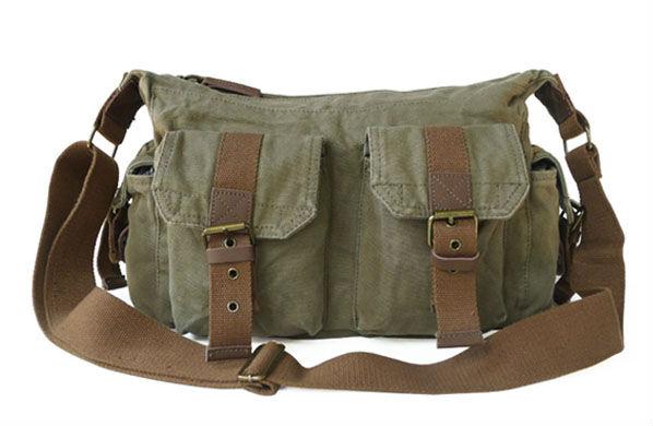 bb14d5a1f Washed canvas Sling Bag Men s Messenger Shoulder Bag leisure bag  Multi-pockes bag postman bag 235-3 army Green