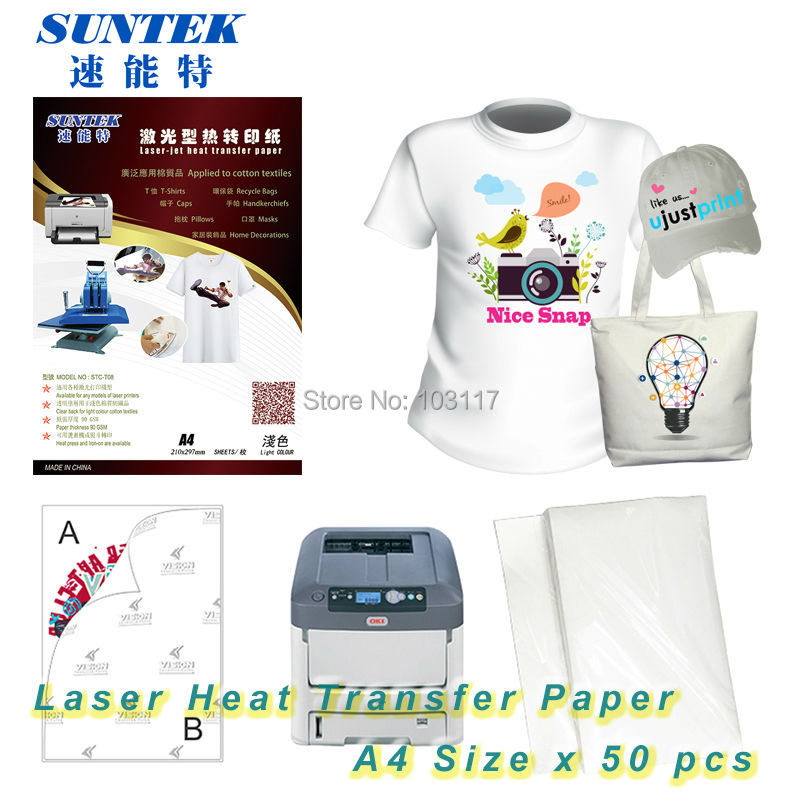 (50pcs/lot) A4 Size Heat Transfer Paper Forever For Laser Printer Light Papel Transfer T Shirts