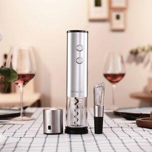 Image 2 - Circle Joy elektryczny otwieracz do butelek ze stali nierdzewnej Mini wino korek karafka do wina Aerator