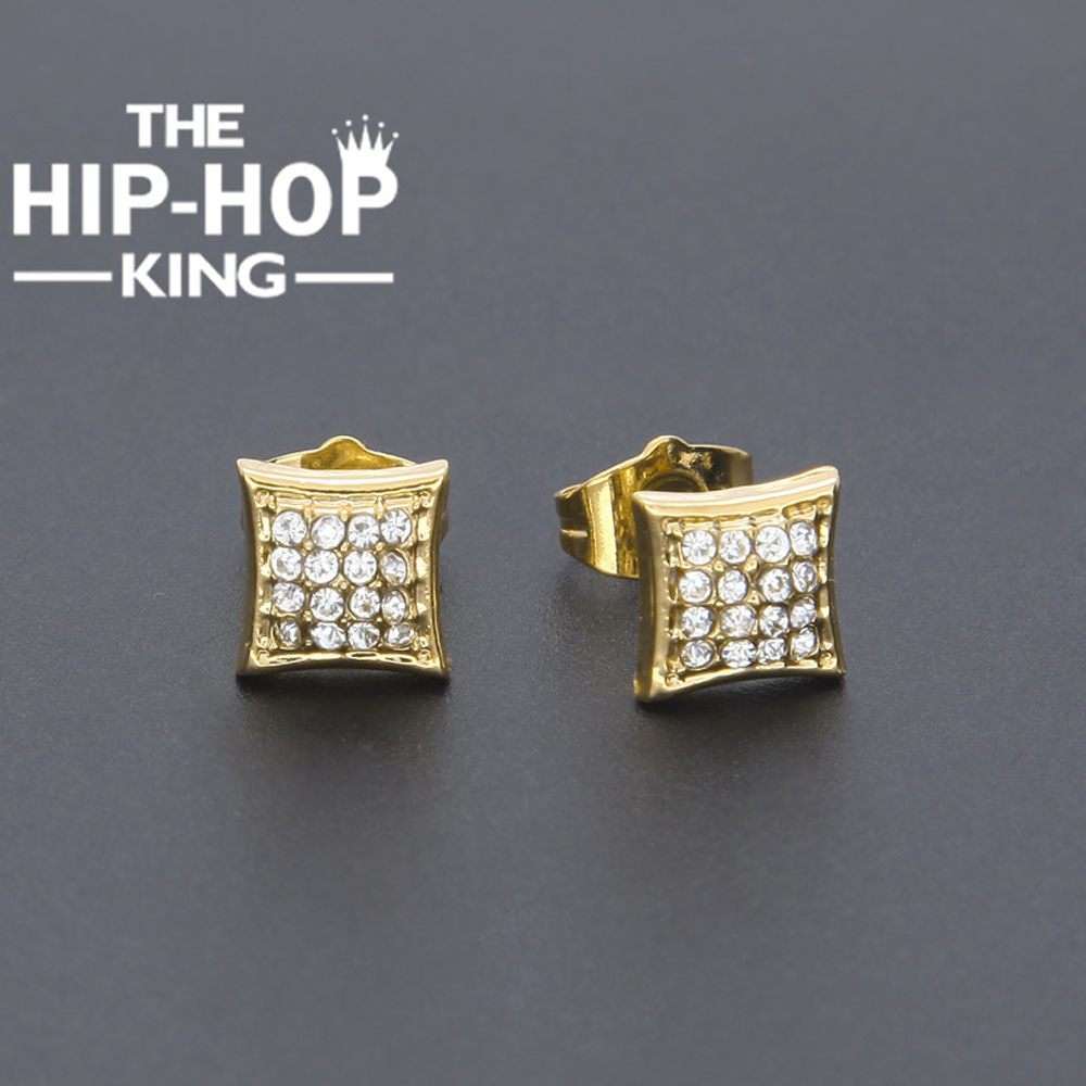 Fashion Classic Gold Color Crystal Stud Earring Micro Alloy Cz Simulated Diamonds Square Screw Back Earring