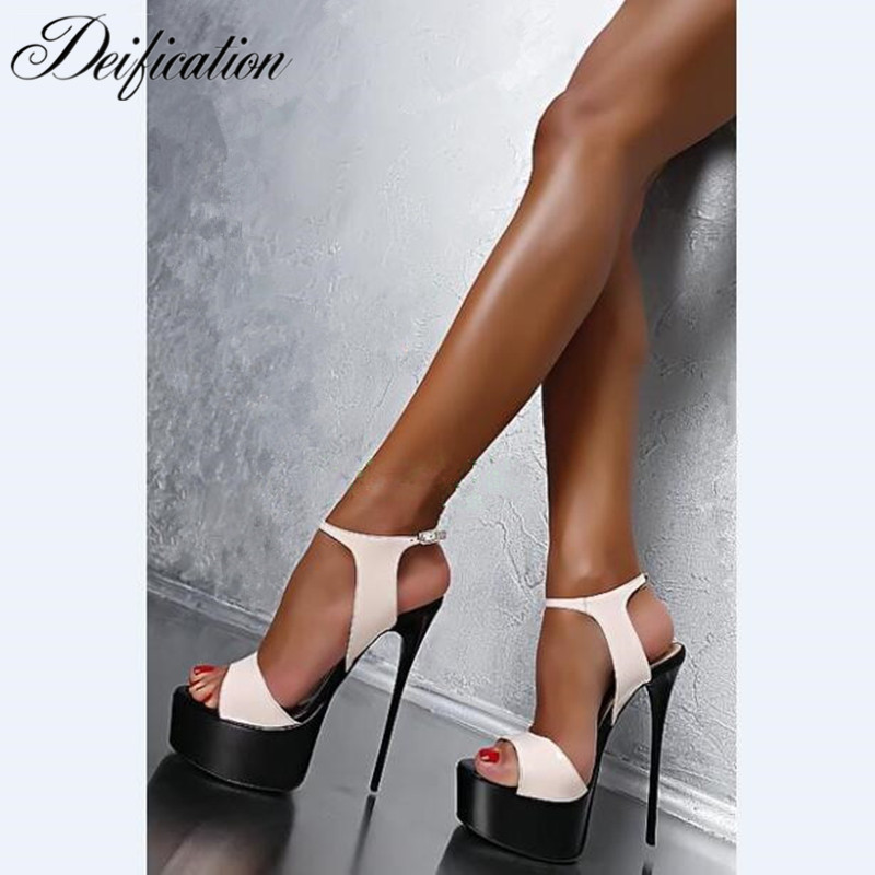Deification Sexy Ultra High Heels Fashion Ankle Strap Party Wedding Shoes Gladiator High Platform Sandals Sandalias Mujer 2019