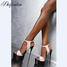 Deification Sexy Ultra High Heels Fashion Ankle Strap Party Wedding Shoes Gladiator High Platform Sandals Sandalias Mujer 2018 все цены
