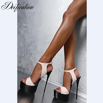 Deification Sexy Ultra High Heels Fashion Ankle Strap Party Wedding Shoes Gladiator High Platform Sandals Sandalias Mujer 2018