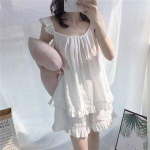 Image 1 - 2018 Cute Sweet Solid 3 Colors Homewear Pajamas Women Girls Pajama Set Camis Elastic Waist Shorts Cotton Lounge pyjamas S85321