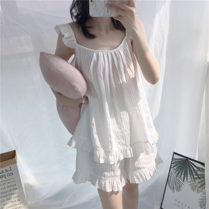 2018 Cute Sweet Solid 3 Colors Homewear   Pajamas   Women Girls   Pajama     Set   Camis Elastic Waist Shorts Cotton Lounge pyjamas S85321