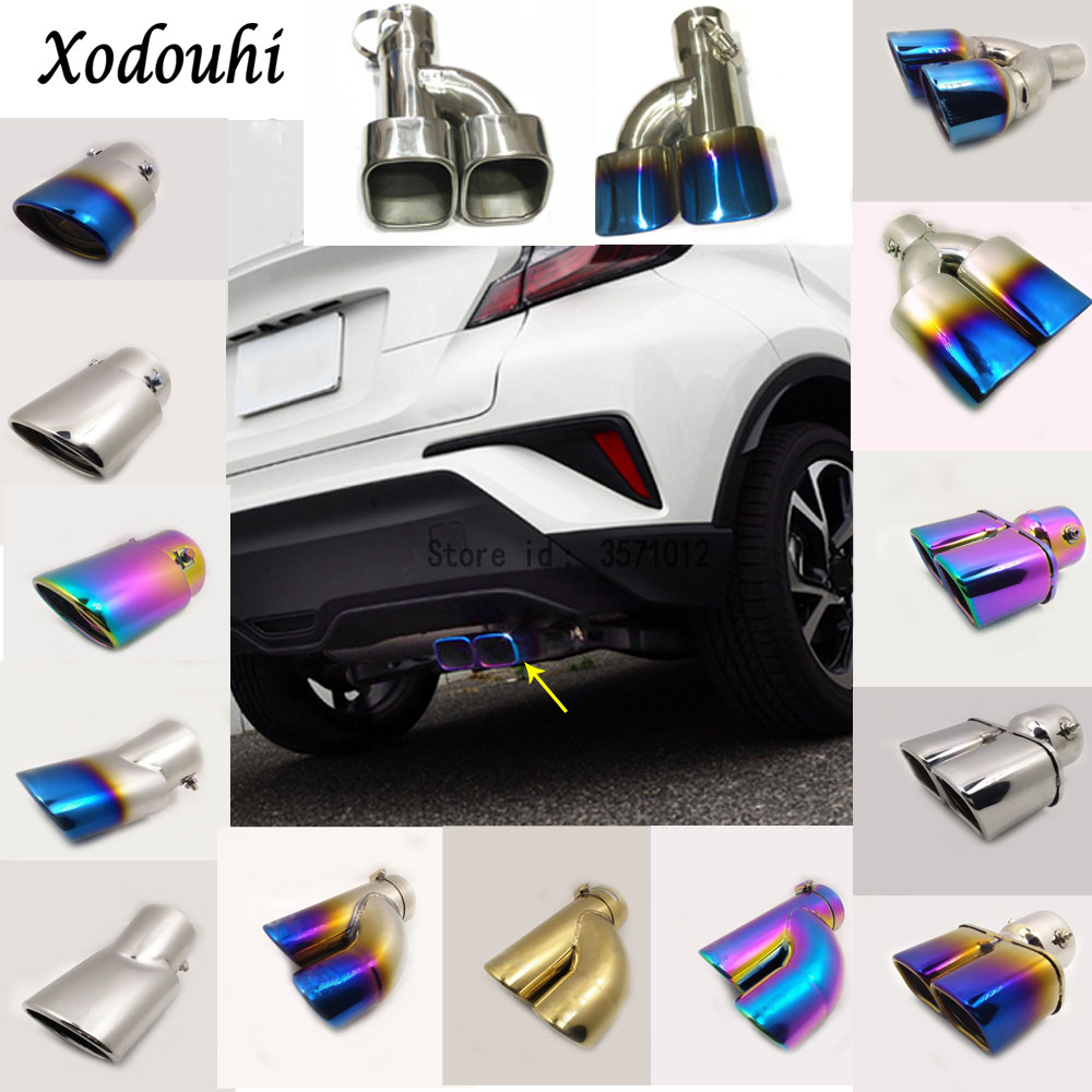 For Toyota C-HR CHR 2017 2018 car cover muffler exterior end pipe dedicate stainless steel exhaust tip tail moulding outlet 1pcs stylish stainless steel car exhaust pipe muffler tip for santana toyota mazda chery more