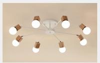 AC100V~220V E27 Wood LED Ceiling Lights Living Room Bedroom Modern Ceiling Lamp Modern Lustres De Sala Plafon WCL020