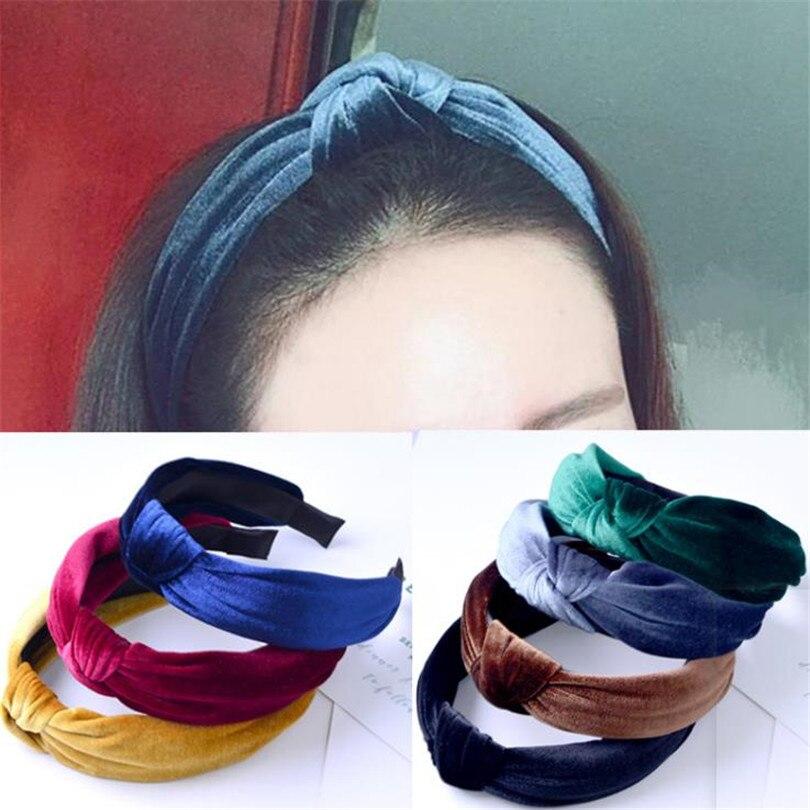 Haimeikang New 2019 Women Fashion Headband Twist Hair Band Ladies Retro Bow Tie Hairband Girls Elastic Velvet Headwrap