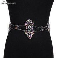 Miwens modetrend body sieraden vrouwen crystal party strand multilayer taille bellys keten voor bruiloft gift accessoire 8192