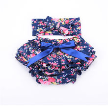 bfe5d7395 Newborn Baby Bloomers Floral Printed Shorts + Headband 2pcs/Set Ruffle  Bubble PP Girl Bloomer Pants Baby Bloomers Diaper Covers
