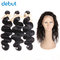 Дебют бразильский пучки волос плетение 3 Связки Волны Человеческого Тела Пучки волос 12 26 дюймов пучки волос с 360 кружева Фронтальная застежк