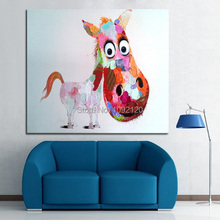 Decorative Art Handmade Oil Painting On Canvas Living Room Home Decor Big Head Horse Wall Paintings Animal Pictures
