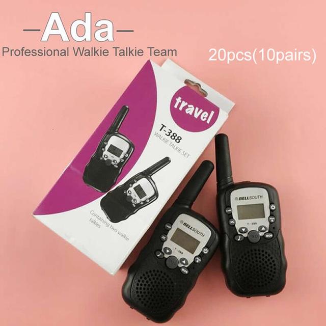 DHL frete grátis T-388 Mini Walkie Talkie UHF 462.550-467.7125 MHz 0.5 W 22CH Para Kid Crianças Display LCD A0762Z 20 pcs (10 pairs)