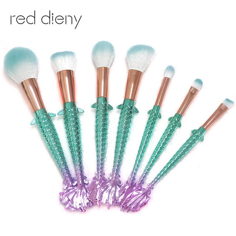 10Pcs Unicorn Mermaid Makeup Brush Set Fish Tail Foundation Eye Eyeshadow Brush Make up Brushes