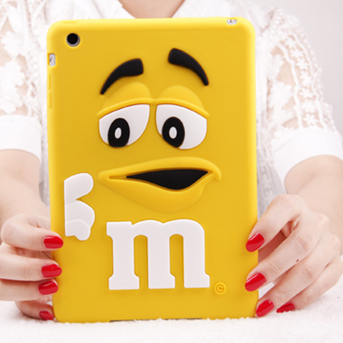 Fashion MM Fragrance Chocolate Soft Silicone Case Cover for Apple iPad Mini 2 3 7.9 inch Lovely Rainbow Beans Tablet Cases