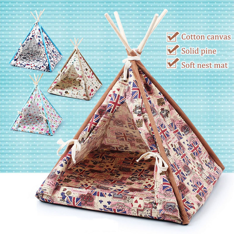 SUPER SD PETS Dogs and cats out nest pad pet supplies Four seasons real wood bracket canvas folding pet <font><b>tent</b></font> litter