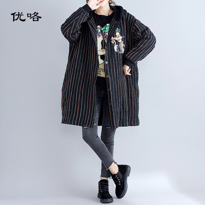 Kawaii Cotton Striped Harajuku Hooded Jacket Long Coat Winter Cartoon Print   Parka   Women Women Plus Size Outerwear Coat 4XL 5XL
