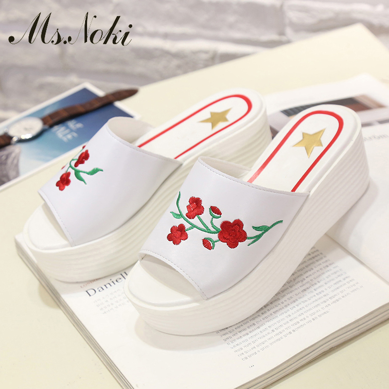 Ms.Noki Wedge Summer Women Sandals Embroider Flower rose Casual Peep Toe Shoes Lady Platform Wedges Sandals Shoes Woman Slipper phyanic 2017 gladiator sandals gold silver shoes woman summer platform wedges glitters creepers casual women shoes phy3323
