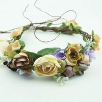 Bride Woodland Rattan Flower Crown Garland For Wedding Travel Festivals Kids Girl Floral Wreath Headpiece Decor