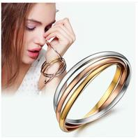 Fashion Jewelry Titanium Steel Rose Gold Silver Color Three Layers Love Bracelets Bangles Women Girls Pulseiras