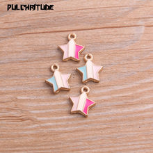 PULCHRITUDE 10pcs Two Color 12*14mm Alloy Metal Drop Oil Candy Stars Charms Pendant For DIY Bracelet Necklace Jewelry Making(China)