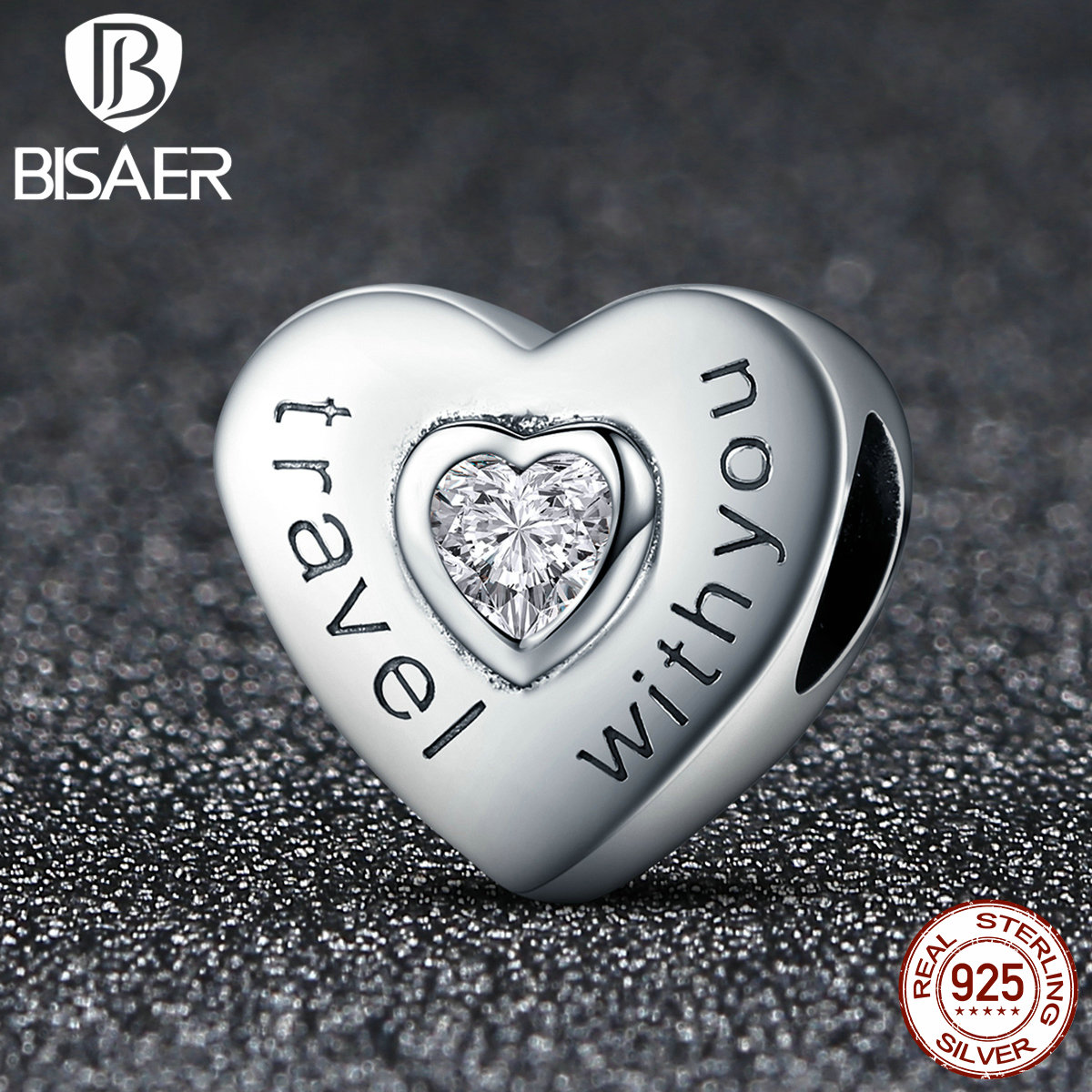 925 Sterling Silver Travelling With You Heart Beads Fit Original Pan Charm Bracelets DIY Accessories Christmas Gift HSC431