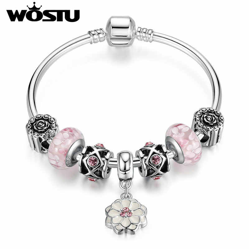 2019 Hot Fashion Blooming Dahlia Charms Bangle For Women Original Silver DIY Beads Jewelry Fit  Bracelet Gift XCH3807