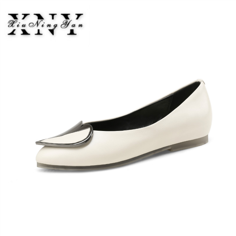 XIUNINGYAN Big Size Women Shoes Comfort Pointed Toe Slip On Women's Flats Shoes Autumn Boat Ballet Genuine Leather Shoes Woman xiuningyan 2017 women oxfords patent leather flats shoes slip on handmade woman loafers yellow black casual shoes big size 33 48
