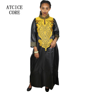 Image 3 - african soft material design dress embroidery design long dress with scarf