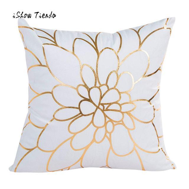 Sofa Box Cushion Covers Top 10 Italian Brands Fashion Home Pillow Cover Gold Foil Printing Case Waist Throw Decor Square