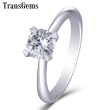 TransGems Solid 14K 585 White Gold 1 Carat CT 6mm F Color Cuhsion Cut Moissanite Engagement Ring for Women Wedding Gift
