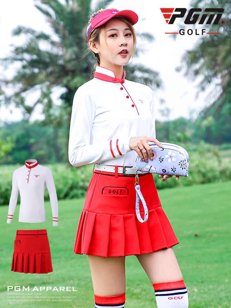 PGM на осень-зиму одежда для гольфа дамские, с длинными рукавами футболка и короткая юбка Женский костюм для гольфа спортивная одежда