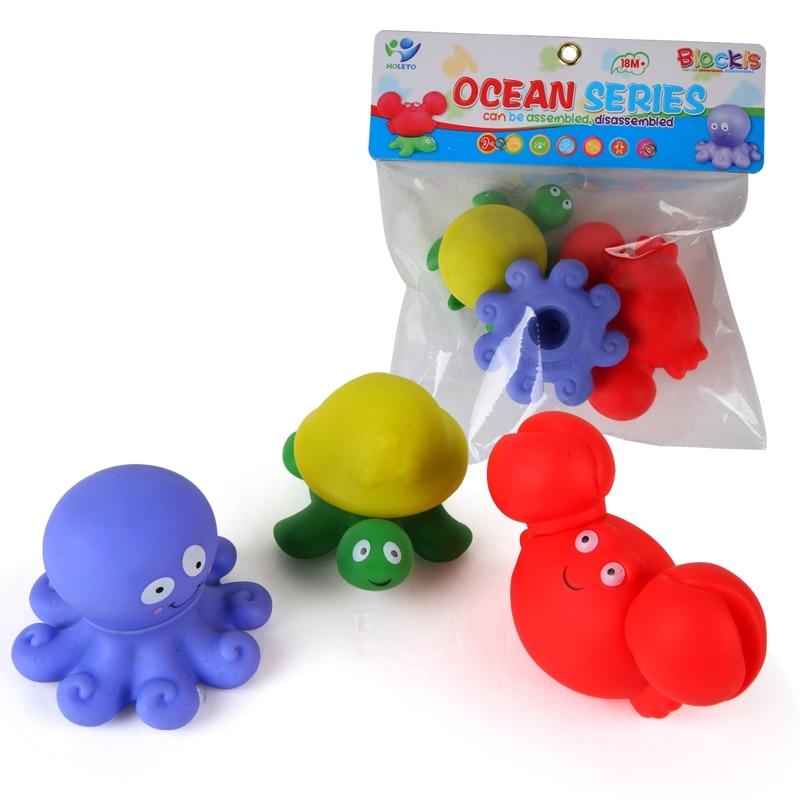 3 Pcs Cute Cartoon Baby Bath Toys Marine Animal Shaped Soft Kids Bath Toy & Bathroom Toys